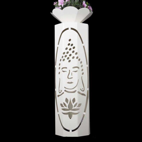 """8 - Eck Säule """" Buddha """" inkl. Deko Schale & Beleuchtung in der Farbe weiß"""